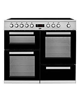 Beko Freestanding 100cm double oven range cooker Stainless Steel KDVC100X