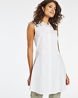 White Sleeveless Fit and Flare Shirt