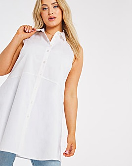 White Stretch Sleeveless Fit and Flare Shirt