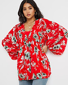 Red Print Cami and Kimono Set