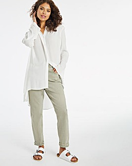 Ivory Dipped Hem Crinkle Shirt With Rolled Back Sleeves