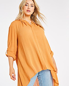 Orche Dipped Hem Crinkle Shirt