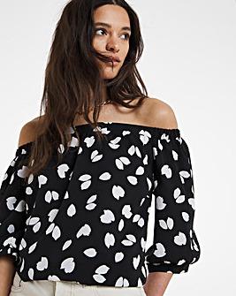 Puff 3/4 Sleeve Bardot Top
