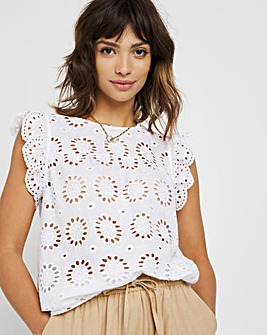 White Broderie Woven Vest Top