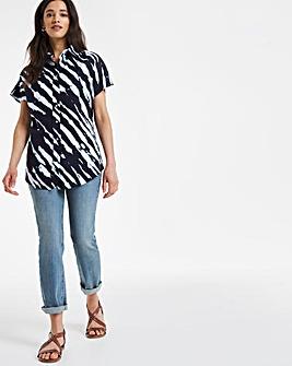 Navy Print Grown On Sleeve Linen Shirt