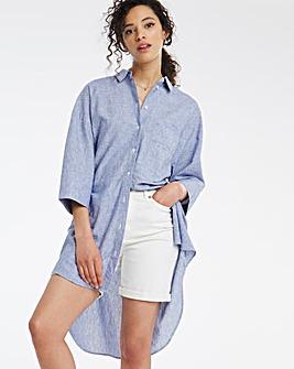 Blue Stripe Oversized Linen Shirt