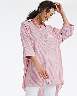 Pink Stripe Oversized Cotton Shirt