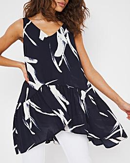 Navy Print Smock Sleeveless Tunic
