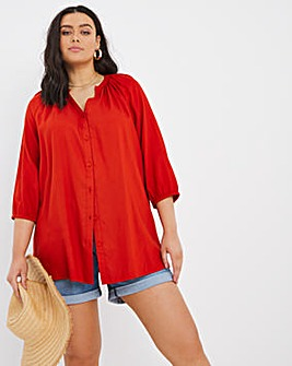 Rust Raglan Sleeve Gathered Top