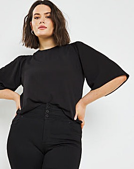 Black Shirred Shoulder Shell Top
