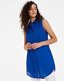 Bright Blue Sleeveless Cotton Shirt