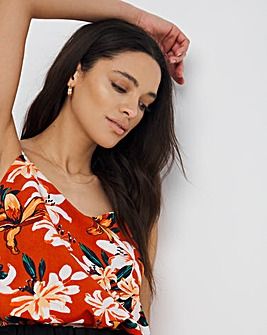 Terracotta Tropical Print Strappy Cami