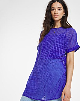Blue Longline Textured Boxy Top