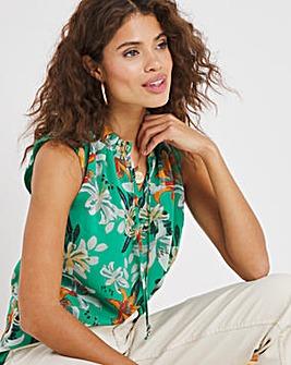 Green Tropical Print Sleeveless Tie Neck Blouse