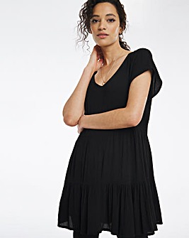 Black Crinkle Tiered Tunic