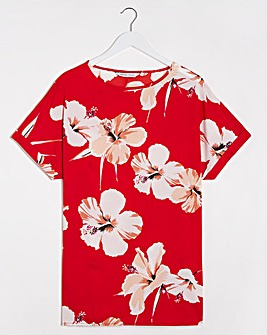 Red Floral Print Longline Boxy Top