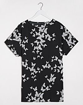 Butterfly Print Longline Boxy Top