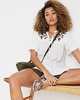Ivory Embroidered Puff Sleeve Top