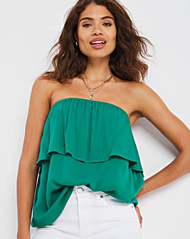 Green Pull On Crinkle Bardot Top