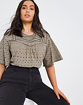 Washed Khaki Short Sleeve Broderie Blouse