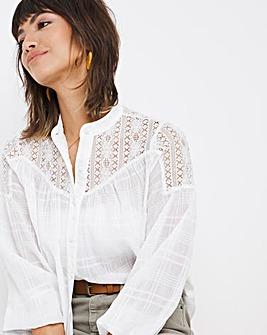 White Grid Check Lace Shoulder Blouse