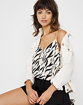 Oyster & Black Dash Print Strappy Cami Top