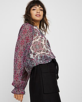 Pink Mixed Print Tie Neck Peasant Blouse