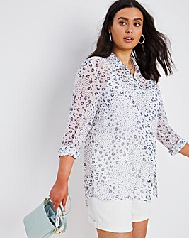 Floral Print Dipped Hem Chiffon Shirt
