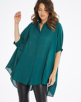 Teal Oversized Button Through Blouse