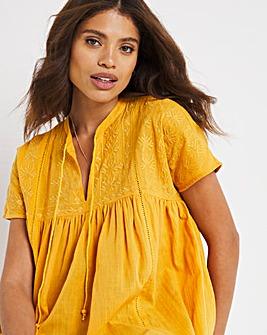 Mango Short Sleeved Embroidered Smock Top