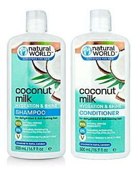 Natural World Coconut Milk Shampoo & Conditioner Set