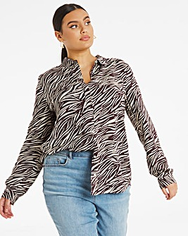Zebra Print Dipped Back Viscose Shirt