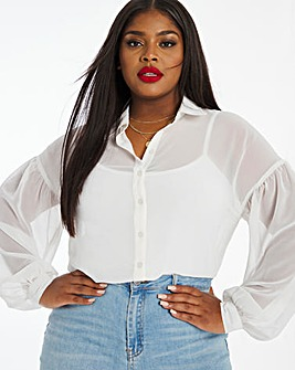 Ivory Longline Gathered Back Blouse