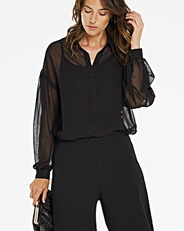 Black Longline Gathered Back Blouse with Jersey Cami