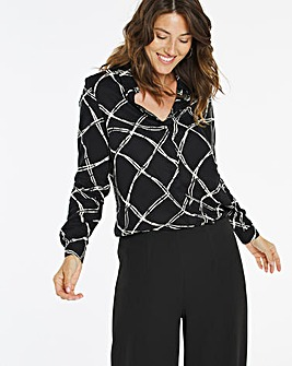 Mono Check Dipped Back Viscose Shirt