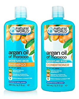 Natural World Moroccan Argan Oil Shampoo & Conditioner Set