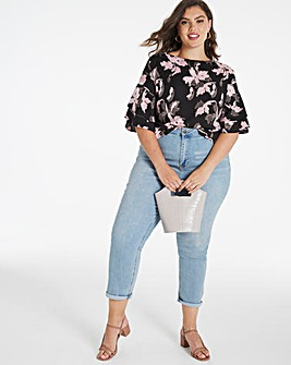 Fluted Sleeve Boxy Top