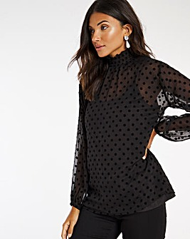 Flock Spot High Neck Blouse with Cami