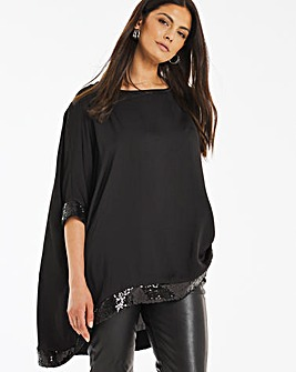 Black Sequin Hem Oversized Top