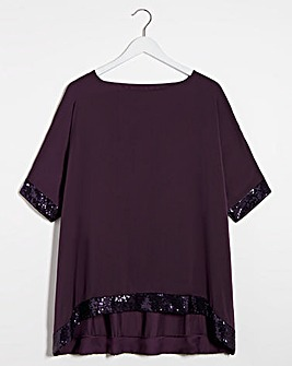 Sequin Hem Oversized Top