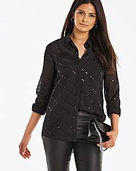 Black Sequin Shirt