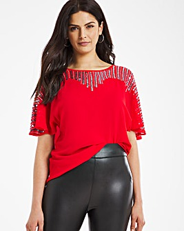 Red Sequin Yoke Blouse