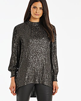 High Neck Sequin Blouse