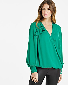 Teal Draped Wrap Ruffle Blouse