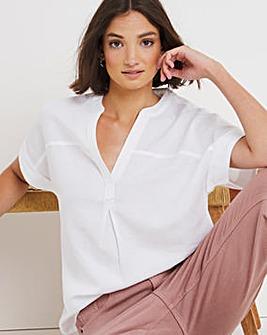 White Linen Short Sleeved Blouse