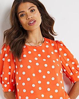 Coral Spot Puff Sleeve Woven T-Shirt
