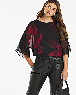 Red Floral Fluted Sleeve Blouse