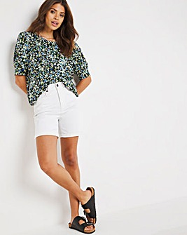 Blue Ditsy Floral Print Puff Sleeve Woven T-Shirt