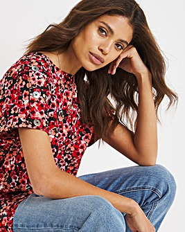 Red Ditsy Floral Print Button Detail Boxy Top