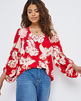 Red Floral Balloon Sleeve V-Neck Blouse